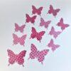 12 Pink Polkadot & Different Size Butterflies 3D WallArt