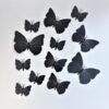 12 Black & Different Size Butterflies 3D WallArt