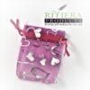 Hearts Pink/Silver Organza Bags 7x9CM x20 Bags